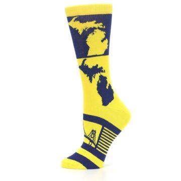 Image of Yellow Blue Michigan Women's Dress Socks (side-2-12)