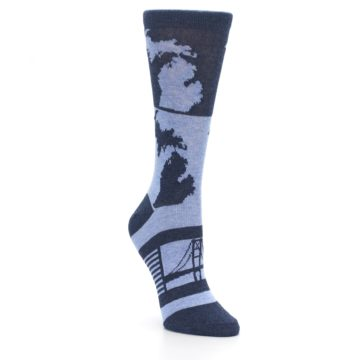 Image of Blue Michigan Women's Dress Socks (side-1-front-02)