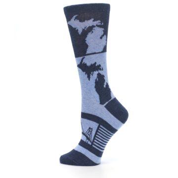Image of Blue Michigan Women's Dress Socks (side-2-13)