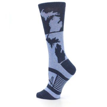 Image of Blue Michigan Women's Dress Socks (side-2-back-14)