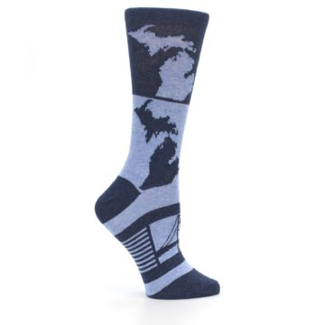 Image of Blue Michigan Women's Dress Socks (side-1-25)