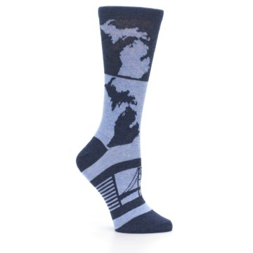 Image of Blue Michigan Women's Dress Socks (side-1-26)