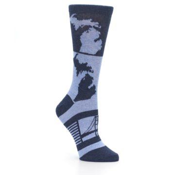 Image of Blue Michigan Women's Dress Socks (side-1-27)