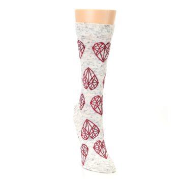 Image of Grey Red Hearts Women's Dress Socks (side-1-front-03)
