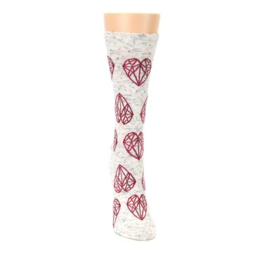 Image of Grey Red Hearts Women's Dress Socks (front-04)