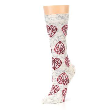 Image of Grey Red Hearts Women's Dress Socks (side-2-09)
