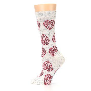 Image of Grey Red Hearts Women's Dress Socks (side-2-13)