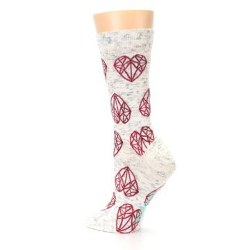 Image of Grey Red Hearts Women's Dress Socks (side-2-back-14)