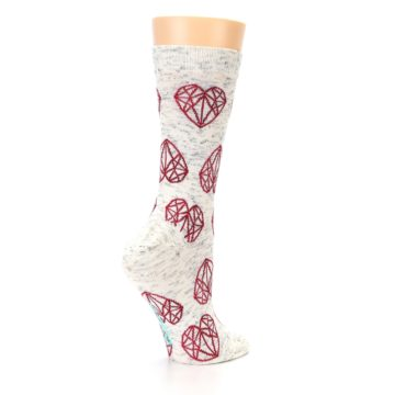 Image of Grey Red Hearts Women's Dress Socks (side-1-23)