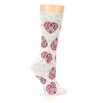 Image of Grey Red Hearts Women's Dress Socks (side-1-24)