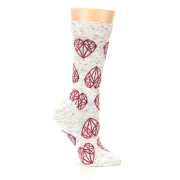 Image of Grey Red Hearts Women's Dress Socks (side-1-25)