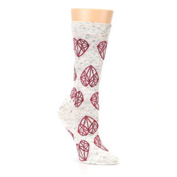Image of Grey Red Hearts Women's Dress Socks (side-1-27)