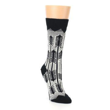 Image of Black White Forest Trees Women's Dress Socks (side-1-front-02)