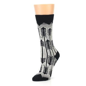 Image of Black White Forest Trees Women's Dress Socks (side-2-09)