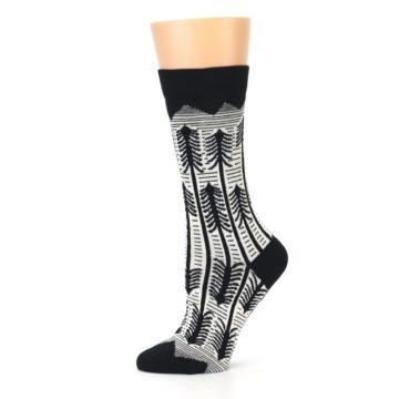 Image of Black White Forest Trees Women's Dress Socks (side-2-11)