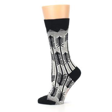 Image of Black White Forest Trees Women's Dress Socks (side-2-12)