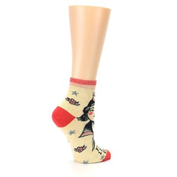 Image of Tan Fight Like A Girl Women's Ankle Socks (side-1-23)