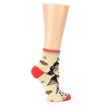 Image of Tan Fight Like A Girl Women's Ankle Socks (side-1-24)