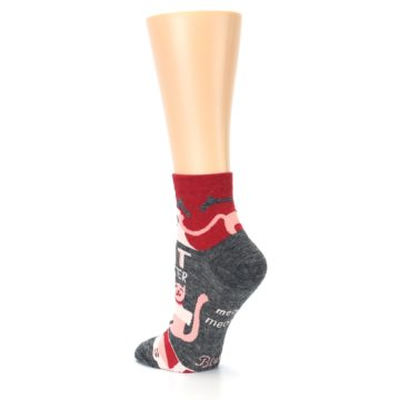 Image of Heather Grey Pink Cat Monster Women's Ankle Socks (side-2-back-15)