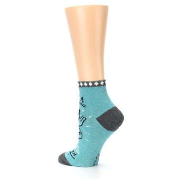 Image of Teal Grey Special Unicorn Women's Ankle Socks (side-2-back-14)