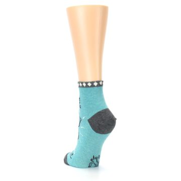 Image of Teal Grey Special Unicorn Women's Ankle Socks (side-2-back-16)