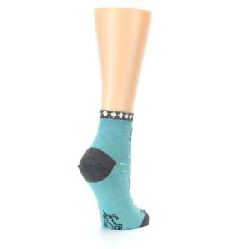 Image of Teal Grey Special Unicorn Women's Ankle Socks (side-1-back-22)