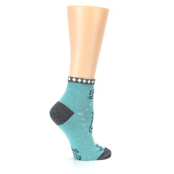 Image of Teal Grey Special Unicorn Women's Ankle Socks (side-1-24)