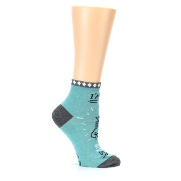 Image of Teal Grey Special Unicorn Women's Ankle Socks (side-1-25)