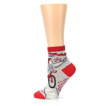 Image of Grey Red Hellraiser Women's Ankle Socks (side-2-12)