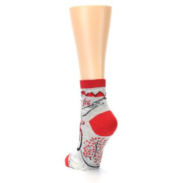 Image of Grey Red Hellraiser Women's Ankle Socks (side-2-back-16)