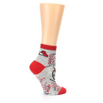 Image of Grey Red Hellraiser Women's Ankle Socks (side-1-24)
