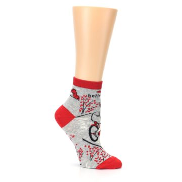 Image of Grey Red Hellraiser Women's Ankle Socks (side-1-26)