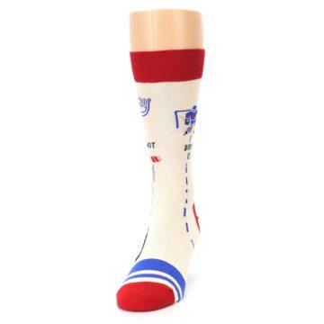 Image of Cream Red Hockey Game Men's Dress Socks (side-2-front-06)