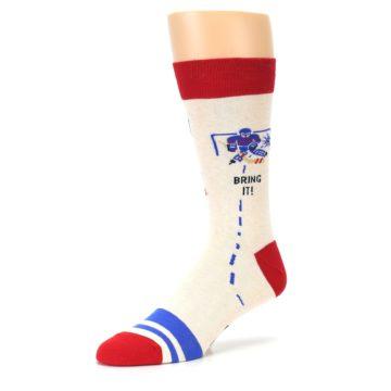 Image of Cream Red Hockey Game Men's Dress Socks (side-2-09)