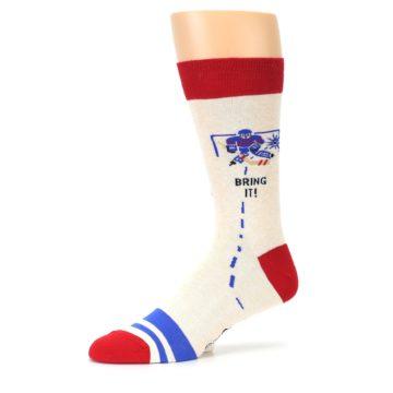 Image of Cream Red Hockey Game Men's Dress Socks (side-2-10)