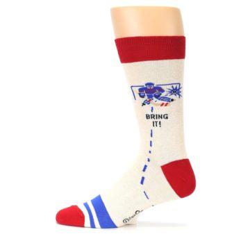 Image of Cream Red Hockey Game Men's Dress Socks (side-2-12)