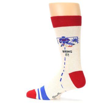 Image of Cream Red Hockey Game Men's Dress Socks (side-2-13)