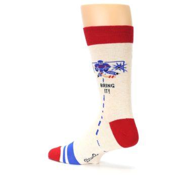 Image of Cream Red Hockey Game Men's Dress Socks (side-2-back-14)
