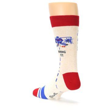 Image of Cream Red Hockey Game Men's Dress Socks (side-2-back-15)