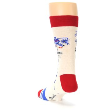 Image of Cream Red Hockey Game Men's Dress Socks (side-2-back-16)