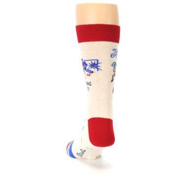 Image of Cream Red Hockey Game Men's Dress Socks (back-17)