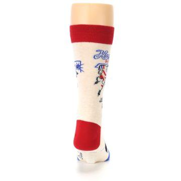 Image of Cream Red Hockey Game Men's Dress Socks (back-19)