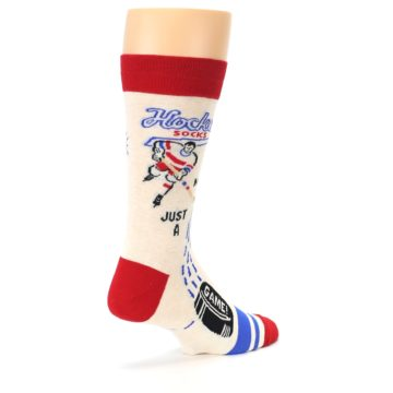 Image of Cream Red Hockey Game Men's Dress Socks (side-1-back-22)