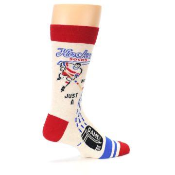 Image of Cream Red Hockey Game Men's Dress Socks (side-1-23)