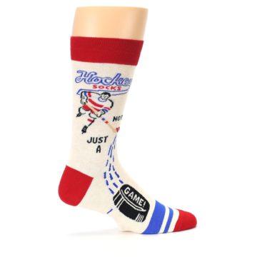 Image of Cream Red Hockey Game Men's Dress Socks (side-1-24)