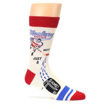 Image of Cream Red Hockey Game Men's Dress Socks (side-1-25)