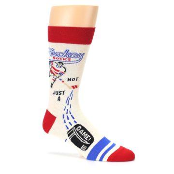 Image of Cream Red Hockey Game Men's Dress Socks (side-1-26)