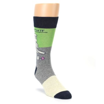 Image of Grey Green Mr. Fix It Men's Dress Socks (side-1-front-02)