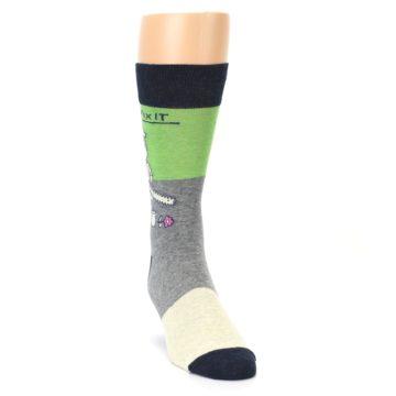 Image of Grey Green Mr. Fix It Men's Dress Socks (side-1-front-03)
