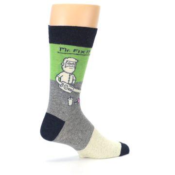 Image of Grey Green Mr. Fix It Men's Dress Socks (side-1-23)